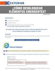 Desbloqueo de Elementos Emergentes - Banco EXTERIOR