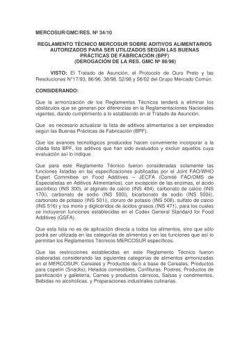 Resolución GMC Nº 34/10 - Punto Focal