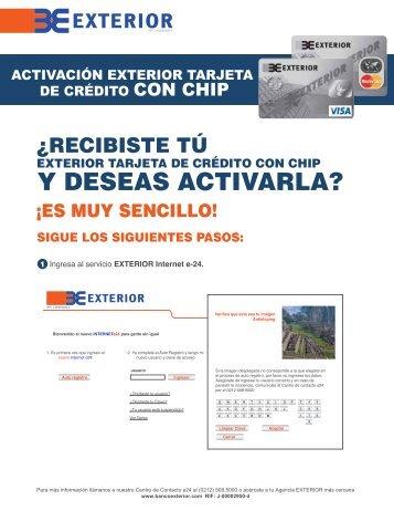 activar TDC con Chip - Banco EXTERIOR