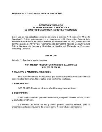 Productos. Carnicos. Salchichas - Ministerio de Economía Industria ...