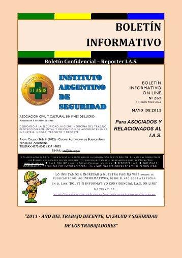 Informativo Nº 267 (MAYO) - Instituto Argentino de Seguridad