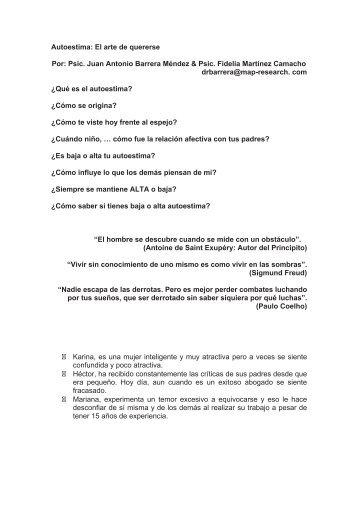 Autoestima: El arte de quererse Por: Psic. Juan Antonio Barrera ...