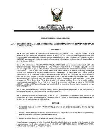 ORDEN GENERAL No. 026 DEL COMANDO GENERAL DE LA ...