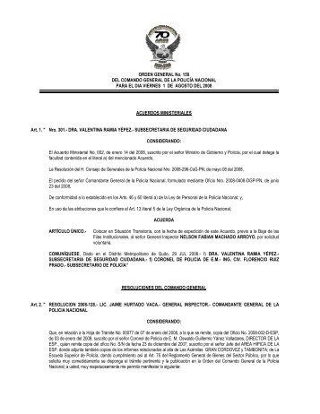 ORDEN GENERAL No. 150 DEL COMANDO GENERAL DE LA ...