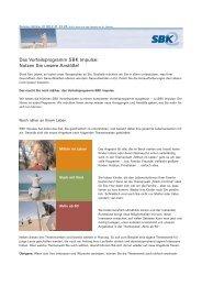 Das Vorteilsprogramm SBK Impulse: Nutzen Sie unsere Anstöße!