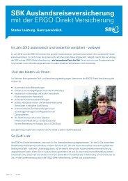 SBK Auslandsreiseversicherung mit der ERGO Direkt Versicherung