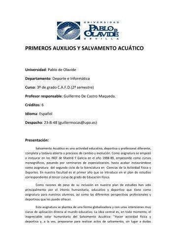 primeros auxilios y salvamento acuático - Universidad Pablo de ...
