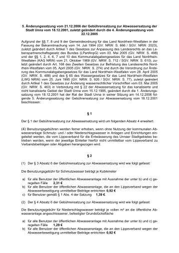 5. Änderungssatzung der Abwassergebührensatzung