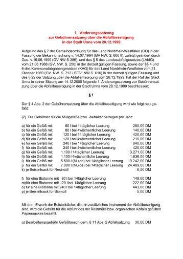 1. Änderungssatzung der Abfallgebührensatzung