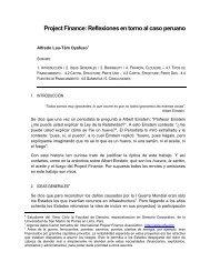 Project Finance: Reflexiones en torno al caso peruano - Facultad de ...