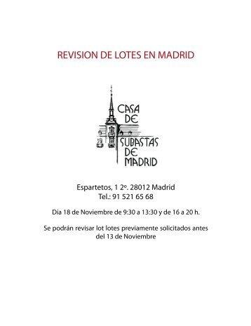 REVISION DE LOTES EN MADRID - Weblog d'en Xavier Caballé