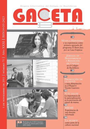No.75 1 de Noviembre de 2011 - Colegio de Bachilleres