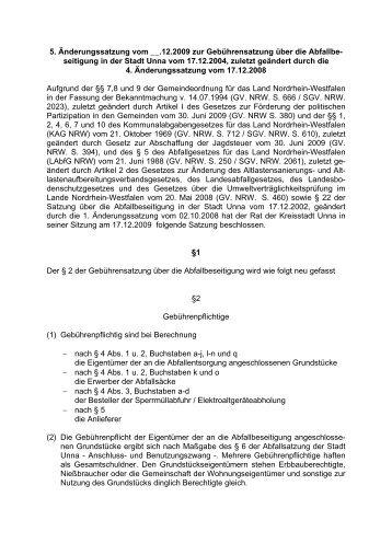 5. Änderungssatzung der Abfallgebührensatzung - Stadtbetriebe Unna
