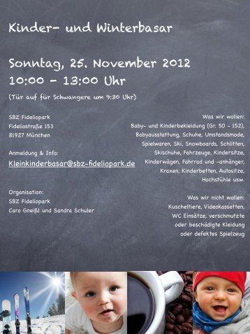 Kinder- und Winterbasar Sonntag, 25. November 2012 10:00 - 13:00 ...