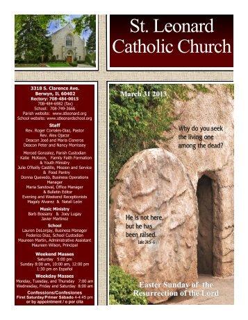 March 31st - St. Leonard Catholic Church