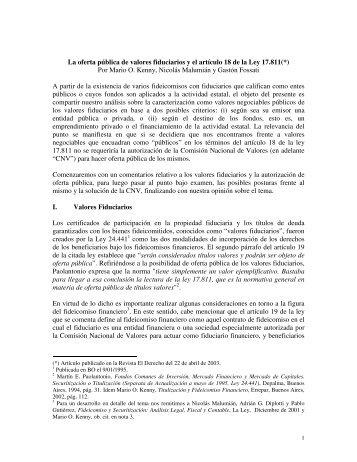 La oferta pública de valores fiduciarios y el artículo 18 de la Ley ...