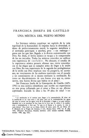 Francisca Josefa de Castillo, una mística del Nuevo Mundo