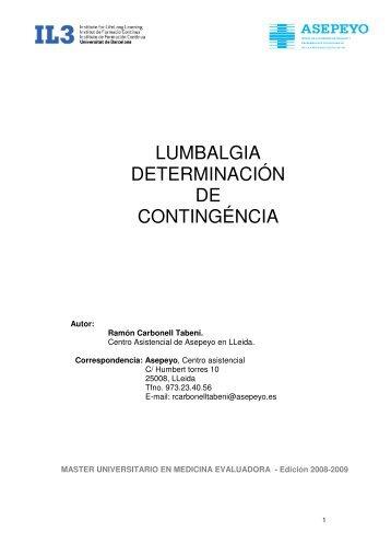 Lumbalgia determinación de contingencia