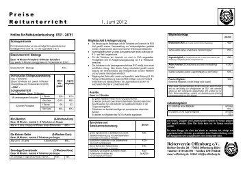 Preisliste - Reiterverein Offenburg eV