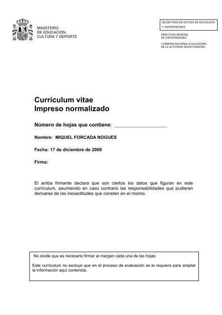 Curriculum Vitae Impreso Normalizado Academie Internationale D