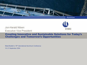 Creating Innovative and Sustainable Solutions for Today's - Hydro.com
