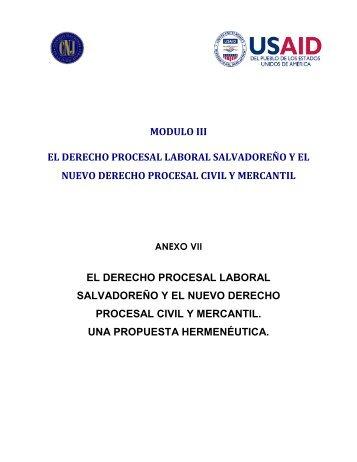 modulo iii el derecho procesal laboral salvadoreño y el nuevo ...