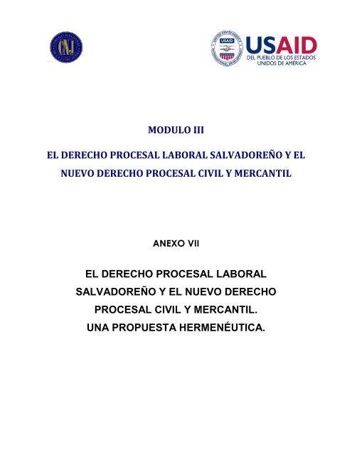Modulo Iii El Derecho Procesal Laboral Salvadoreño Y El