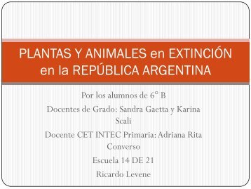 PLANTAS Y ANIMALES en EXTINCIÓN en la ... - de21-2010