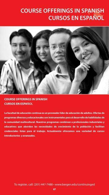 COURSE OFFERINGS IN SPANISH CURSOS EN ESPAÑOL