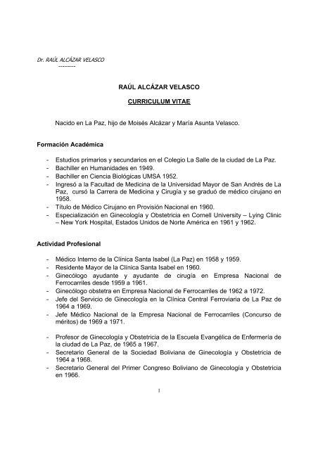 Raul Alcazar Velasco Curriculum Vitae Nacido En La