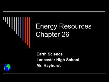 Energy Resources Chapter 26