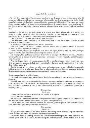 La parábola del joven tuerto - Observatorio sobre la Violencia y ...