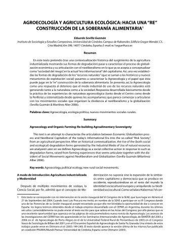 """Agroecología y agricultura ecológica: hacia una """"re"""" construcción"""