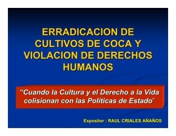 erradicacion de cultivos de coca y violacion de derechos humanos