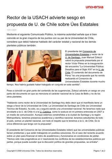 Rector de la USACH advierte sesgo en propuesta de U. de Chile ...