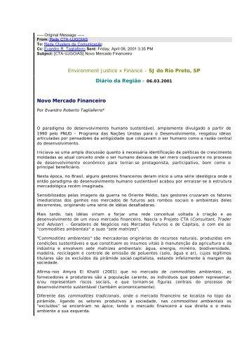 06.03.2001 Novo Mercado Financeiro - Etagli ambiental