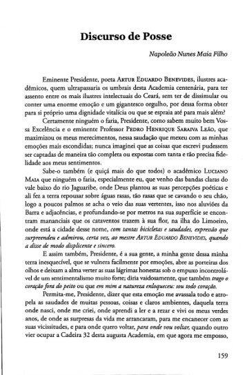 Discurso de Posse - Portal da História do Ceará