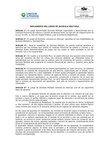Quiniela Plus - Instituto Provincial de Lotería y Casinos de la ...
