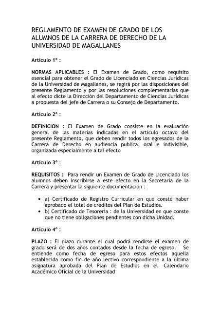 Calendario Examenes Derecho Us.Reglamento Examen De Grado Universidad De Magallanes