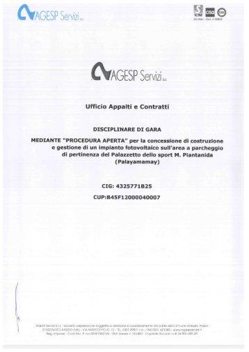 Disciplinare di gara fotovoltaico Palayamamay.pdf - Agesp Servizi Srl