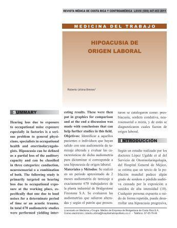 HIPOACUSIA DE ORIGEN LABORAL - Binasss