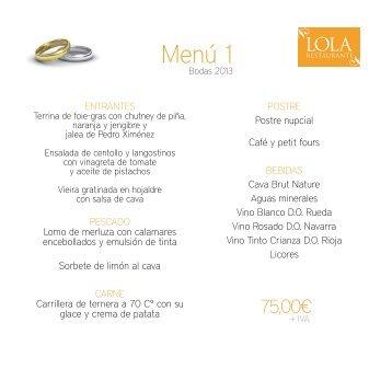 menús bodas - Restaurante Lola