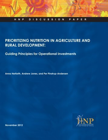 PRIORITIZING NUTRITION IN AGRICULTURE AND RURAL DEVELOPMENT: