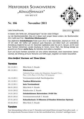 Nr. 106 November 2011 - Schach.com