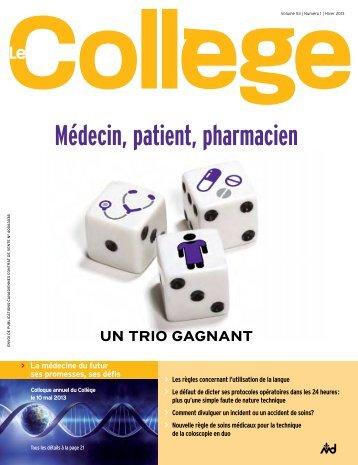 Revue Le Collège, hiver 2013 - Collège des médecins du Québec