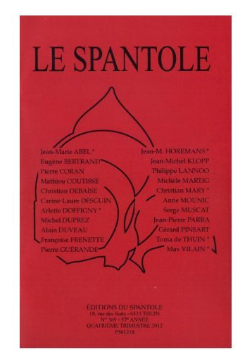 Le Spantole - Le Site de Serge Muscat