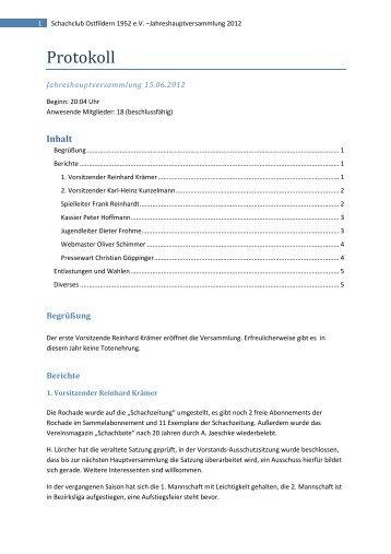 Protokoll der Jahreshauptversammlung 2012 - Schachclub ...