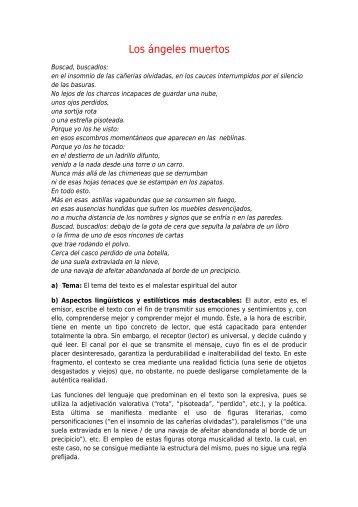 Comentario del poema Los ángeles muertos, de Rafael Alberti