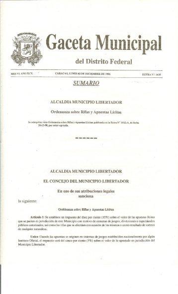 Ordenanza sobre Rifas y Apuestas Lícitas - Alcaldía de Caracas
