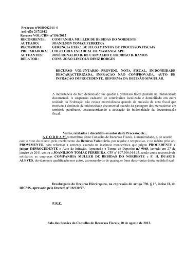 Processo nº0080902011-4 Acórdão 247/2012 Recurso VOL/CRF ...